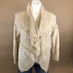 H&M Fringe Waterfall Open Front Cardigan XS